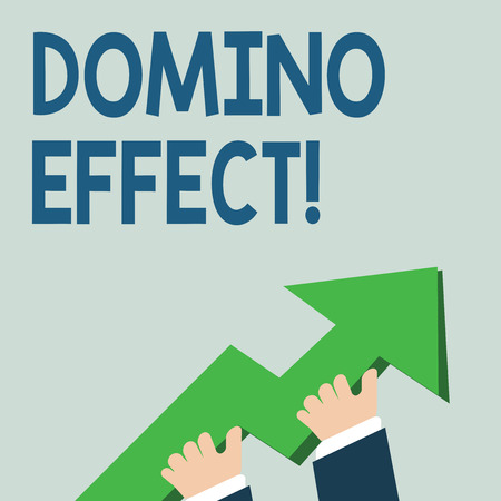 Word writing text Domino Effect. Business photo showcasing Chain reaction that causing other similar events to happen photo of Hand Holding Colorful Huge 3D Arrow Pointing and Going Up Reklamní fotografie