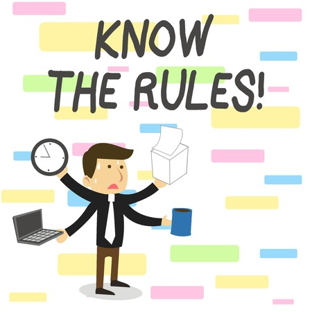 Conceptual hand writing showing Know The Rules. Concept meaning set explicit or regulation principles governing conduct
