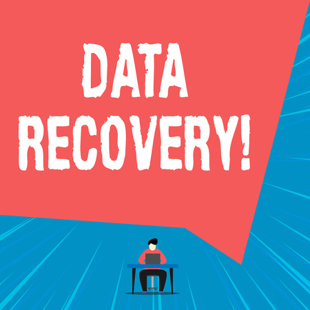 Text sign showing Data Recovery. Business photo showcasing process of salvaging inaccessible lost or corrupted data