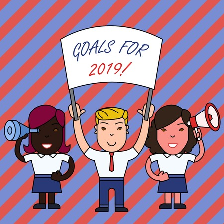 Conceptual hand writing showing Goals For 2019. Concept meaning object of demonstratings ambition or effort aim or desired result