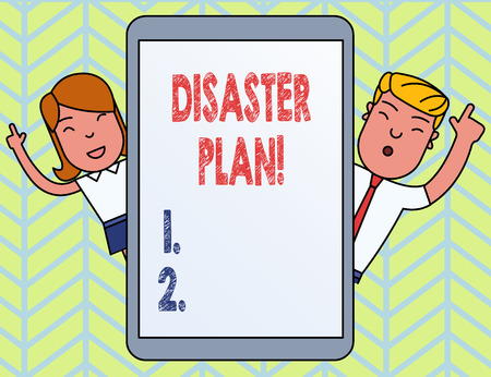 Word writing text Disaster Plan. Business photo showcasing outlines how an organization responds to an unplanned event Imagens
