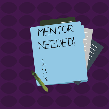 Word writing text Mentor Needed. Business photo showcasing Employee training under senior assigned act as advisor Colorful Lined Paper Stationery Partly into View from Pastel Blank Folder