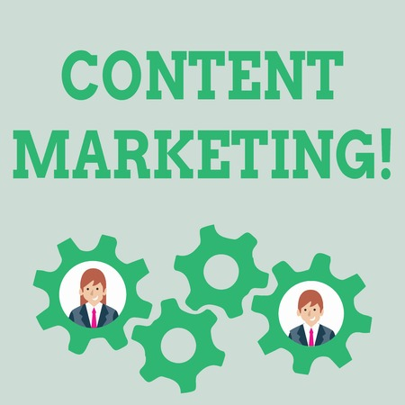 Text sign showing Content Marketing. Business photo text involves creation and sharing of online material Two Business People Each Inside Colorful Cog Wheel Gears for Teamwork Event