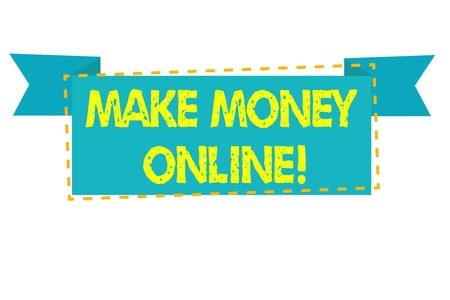 Text sign showing Make Money Online. Business photo text making profit using internet like freelancing or marketing