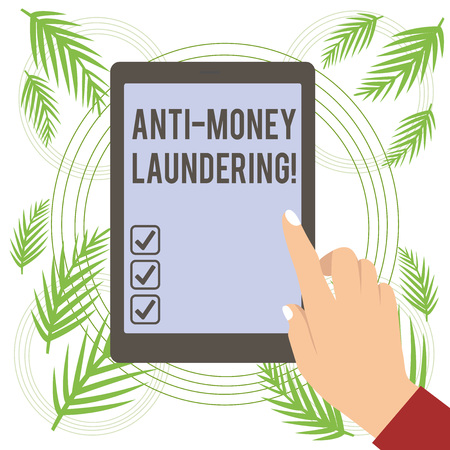 Text sign showing Anti Money Laundering. Business photo text regulations stop generating income through illegal actions