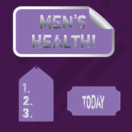Word writing text Men S Health. Business photo showcasing state of complete physical mental and social well being by analysis Blank Color Label, Self Adhesive Sticker with Border, Bended Corner and Tag