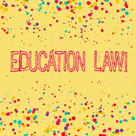 Word writing text Education Law. Business photo showcasing legal discipline covering all issues pertaining to schools Фото со стока