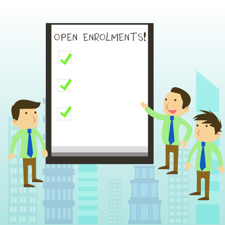 Word writing text Open Enrolments. Business photo showcasing when employees may make changes to elected fringe benefit 版權商用圖片