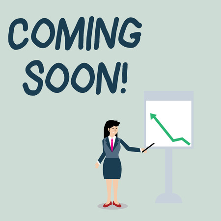 Conceptual hand writing showing Coming Soon. Concept meaning event or action that will happen after really short time Woman Holding Stick Pointing to Chart of Arrow on Whiteboard