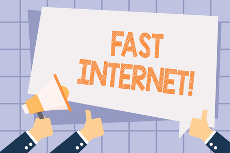 Writing note showing Fast Internet. Business concept for term used for Internet service that is faster than the average Hand Holding Megaphone and Gesturing Thumbs Up Text Balloon Stock Photo