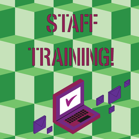 Text sign showing Staff Training. Business photo text learn specific knowledge improve perforanalysisce in current roles Color Mail Envelopes around Laptop with Check Mark icon on Monitor Screen