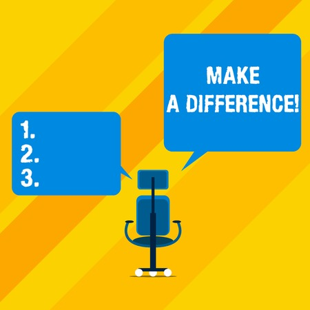 Text sign showing Make A Difference. Business photo text have significant effect or non on demonstrating or situation