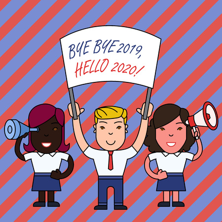Conceptual hand writing showing Bye Bye 2019 Hello 2020. Concept meaning saying goodbye to last year and welcoming another good one
