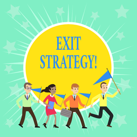 Writing note showing Exit Strategy. Business concept for Extricating oneself from a situation that is become difficult