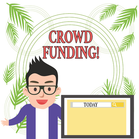 Conceptual hand writing showing Crowd Funding. Concept meaning technique of raising money from a large number of showing Banque d'images