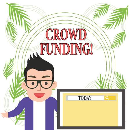 Main conceptuel écrit, indiquant le financement participatif. Sens Concept technique de collecte de fonds à partir d'un grand nombre de montrant Banque d'images