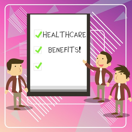 Writing note showing Healthcare Benefits. Business concept for monthly fair market valueprovided to Employee dependents