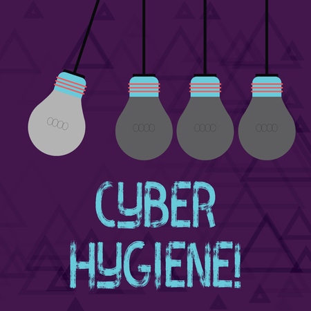 Writing note showing Cyber Hygiene. Business concept for steps that computer users take to improve their cyber security Color Pendant Bulb Hanging with One Different Shade Lightbulb