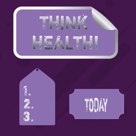 Word writing text Think Health. Business photo showcasing state of complete physical mental and social well being Blank Color Label, Self Adhesive Sticker with Border, Bended Corner and Tag Imagens