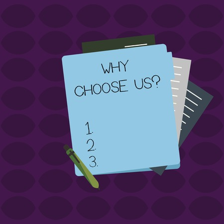 Word writing text Why Choose Us Question. Business photo showcasing list of advantages and disadvantages to select product service Colorful Lined Paper Stationery Partly into View from Pastel Blank Folder Imagens