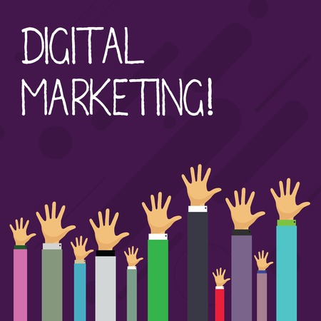 Word writing text Digital Marketing. Business photo showcasing market products or services using technologies on Internet Hands of Several Businessmen Raising Up Above the Head, Palm Facing Front Banco de Imagens