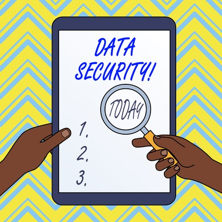 Text sign showing Data Security. Business photo text the process of protecting data from unauthorized access