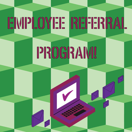 Text sign showing Employee Referral Program. Business photo text internal recruitment method employed by organizations Color Mail Envelopes around Laptop with Check Mark icon on Monitor Screen Stok Fotoğraf