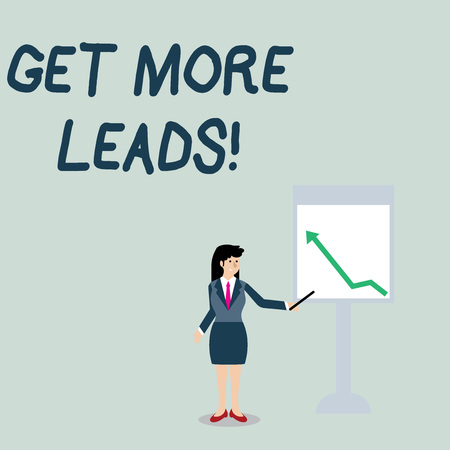 Conceptual hand writing showing Get More Leads. Concept meaning initiation consumer interest or enquiry products or services Woman Holding Stick Pointing to Chart of Arrow on Whiteboard