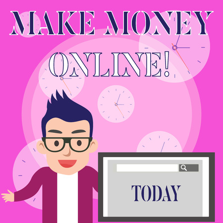 Conceptual hand writing showing Make Money Online. Concept meaning making profit using internet like freelancing or marketing