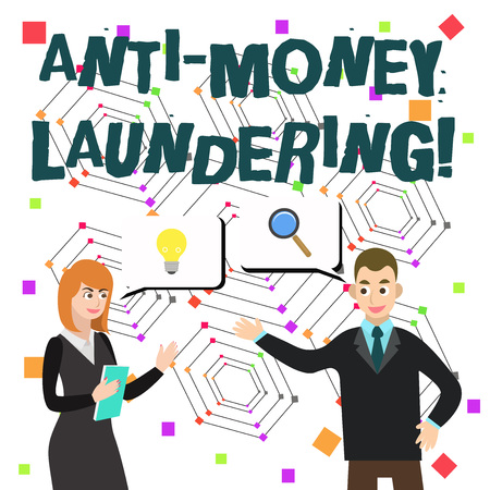 Word writing text Anti Money Laundering. Business photo showcasing regulations stop generating income through illegal actions Stock Photo