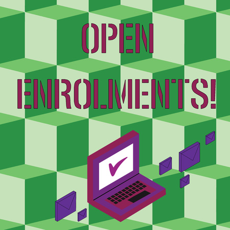 Text sign showing Open Enrolments. Business photo text when employees may make changes to elected fringe benefit Color Mail Envelopes around Laptop with Check Mark icon on Monitor Screen Stok Fotoğraf