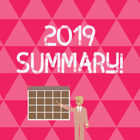 Text sign showing 2019 Summary. Business photo showcasing summarizing past year events main actions or good shows Businessman Smiling and Pointing to Colorful Calendar with Star Hang on Wall