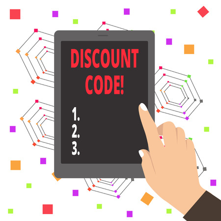 Word writing text Discount Code. Business photo showcasing Series of letters or numbers that allow you to get a discount