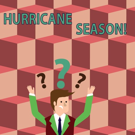 Writing note showing Hurricane Season. Business concept for time when most tropical cyclones are expected to develop Businessman Raising Both Arms with Question Marks Above Head 版權商用圖片