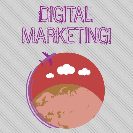 Text sign showing Digital Marketing. Business photo showcasing market products or services using technologies on Internet Airplane with Moving Icon Flying Around Colorful Globe and Blank Text Space