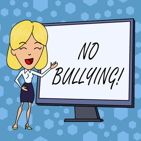 Word writing text No Bullying. Business photo showcasing stop aggressive behavior among children power imbalance Stok Fotoğraf
