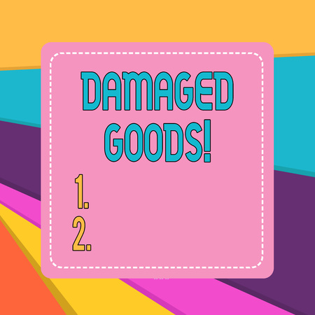 Word writing text Damaged Goods. Business photo showcasing Products or commodities that are broken, cracked or scratched