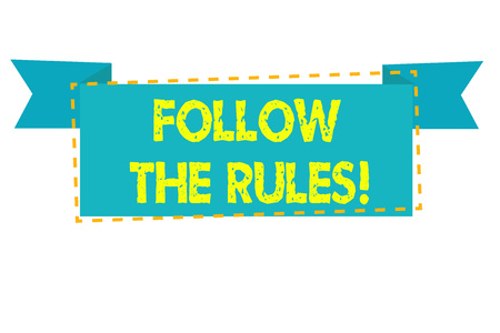 Text sign showing Follow The Rules. Business photo text go with regulations governing conduct or procedure Stock fotó