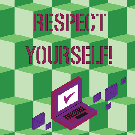 Text sign showing Respect Yourself. Business photo text believing that you good and worthy being treated well Color Mail Envelopes around Laptop with Check Mark icon on Monitor Screen