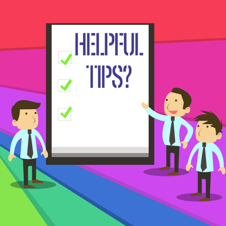 Word writing text Helpful Tips Question. Business photo showcasing secret information or advice given to be helpful knowledge