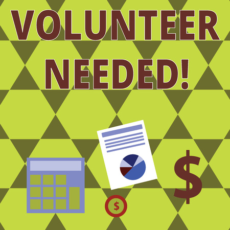 Word writing text Volunteer Needed. Business photo showcasing asking demonstrating to work for organization without being paid Computing Dollar Investment in Gold and Presenting Data thru Pie Chart Graph Imagens