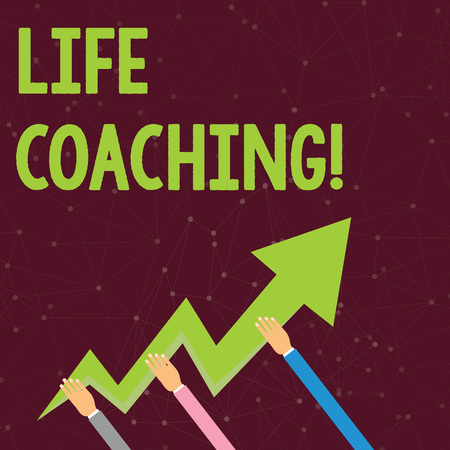 Handwriting text Life Coaching. Conceptual photo demonstrating employed to help showing attain their goals in career Three Hands Holding Colorful Zigzag Lightning Arrow Pointing and Going Up