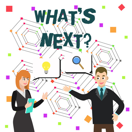 Word writing text Whats Next Question. Business photo showcasing asking demonstrating about his coming actions or behaviors Imagens