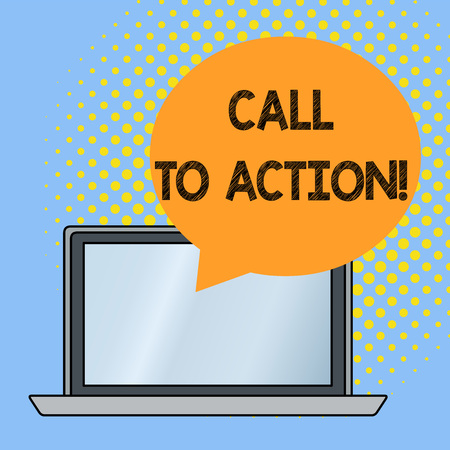 Word writing text Call To Action. Business photo showcasing exhortation do something in order achieve aim with problem