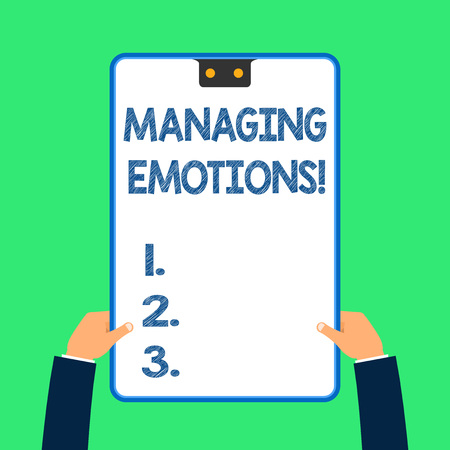 Text sign showing Managing Emotions. Business photo text ability be open to feelings and modulate them in oneself