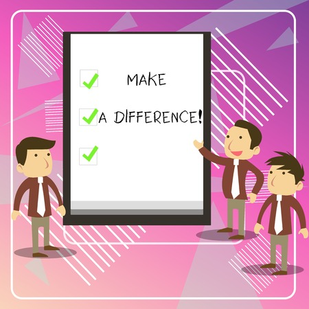 Writing note showing Make A Difference. Business concept for have significant effect or non on demonstrating or situation