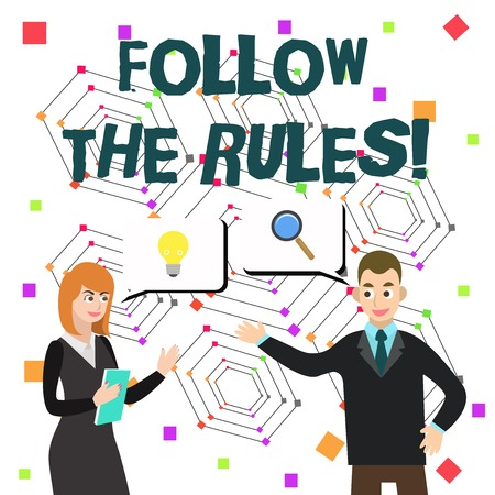 Word writing text Follow The Rules. Business photo showcasing go with regulations governing conduct or procedure