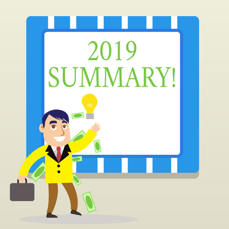 Word writing text 2019 Summary. Business photo showcasing summarizing past year events main actions or good shows 版權商用圖片