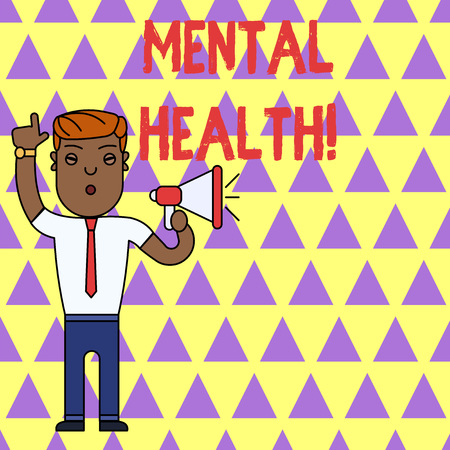 Writing note showing Mental Health. Business concept for demonstratings condition regard to their psychological well being