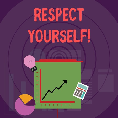 Writing note showing Respect Yourself. Business concept for believing that you good and worthy being treated well Investment Icons of Pie and Line Chart with Arrow Going Up